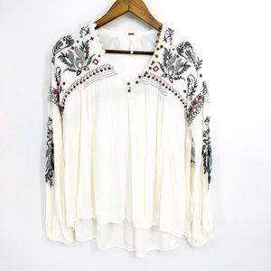 Free People Gauze Boho Floral Embroidered Top